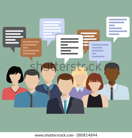 Business people group talking. Chat communication. Social network flat icon design vector illustration.