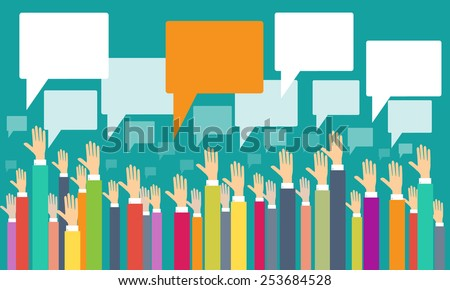 business people hand and empty comment box - stock vector