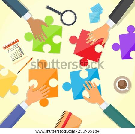 Business People Hands Making Puzzle Desk, Concept Team Work Flat Vector Illustration - stock vector