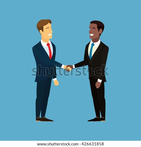 Business people handshake. Businessman hand shake. Shaking hands happy standing negotiating. Businessman making handshake cooperation concept. African American and European shake hands. Vector - stock vector