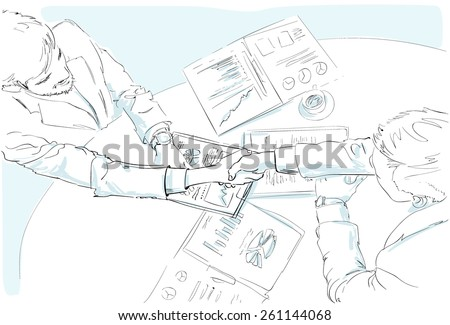 Business people handshake sketch desk with contract sign up documents top angle view vector illustration - stock vector
