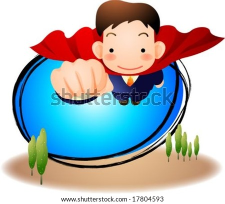 Business People - happy smiling young male flying to success on the blue sky on white background with green tree field : vector illustration