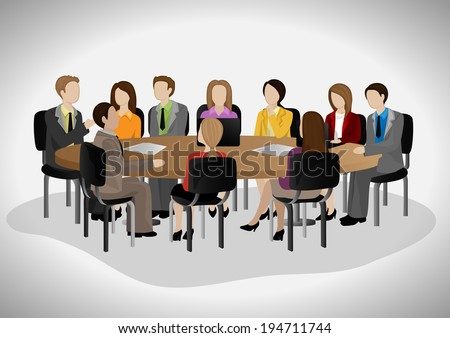Business People Having Meeting - Isolated On Gray Background - Vector Illustration, Graphic Design Editable For Your Design - stock vector