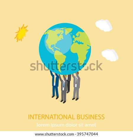 Business people  holding planet Earth on  their hands, isometric vector illustration - stock vector