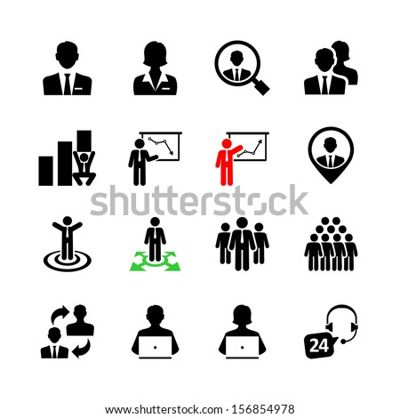 Business people, human resources and management icon set - stock vector