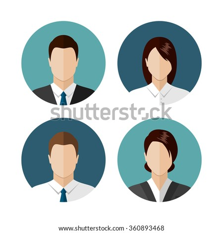 Business people icons isolated on white background. Circle avatar collection. Modern flat style design - stock vector