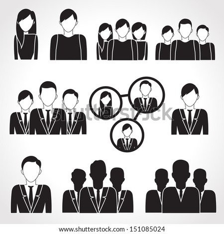 Business People Icons Set - Isolated On White Background - Vector Illustration, Graphic Design Editable For Your Design.  - stock vector
