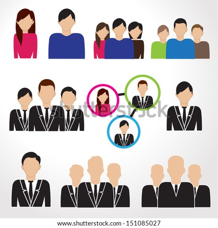 Business People Icons Set - Isolated On White Background - Vector Illustration, Graphic Design Editable For Your Design.
