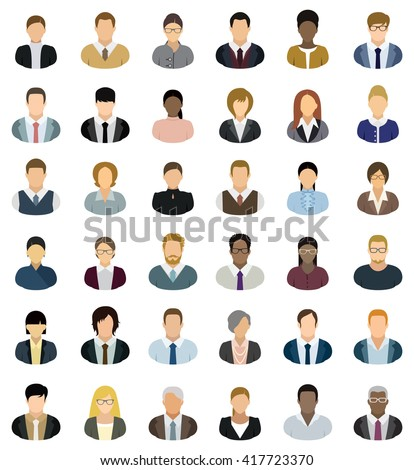 Business People Icons. Set of thirty-six people icons. - stock vector