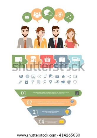 Business people icons with dialog idea speech bubbles infographic concept. - stock vector