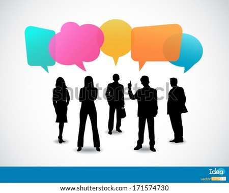 Business people icons with talking speech bubbles - stock vector