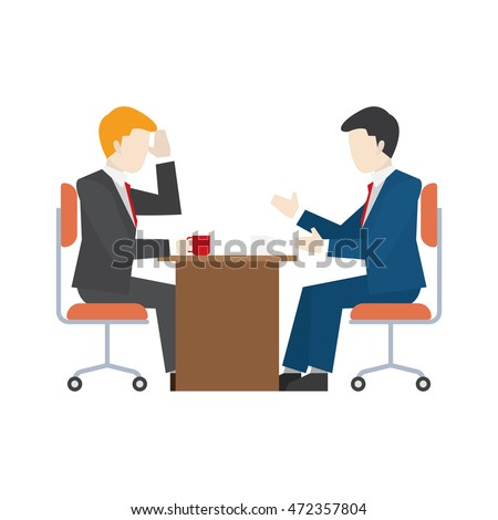Business people illustration. Two business man talking to each other.