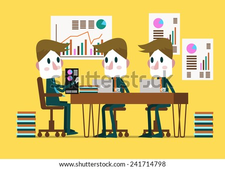 Business people in a conference room. flat design vector illustration - stock vector