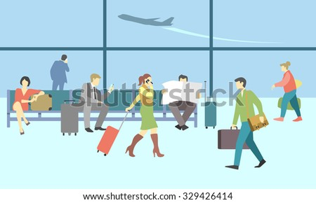 Business people in airport terminal. Vector travel concept background. Traveler and departure, transportation passenger, luggage and baggage, journey illustration