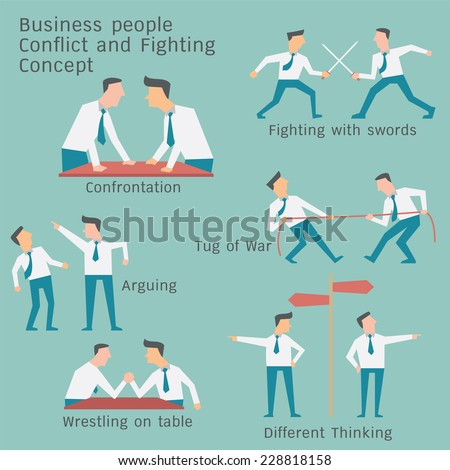 Business people in conflict and confrontation concept. Simple character design. - stock vector