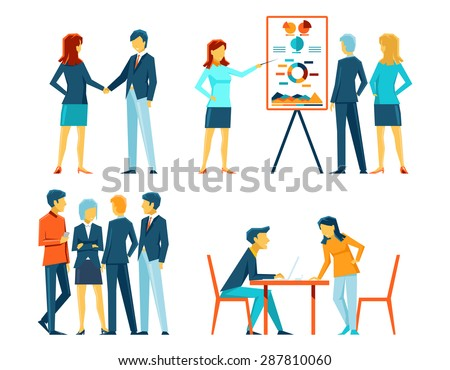 Business people in different poses. Office person, manager and businessman, work showing and meeting, vector illustration - stock vector
