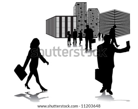 Business people in move and behind them buildings