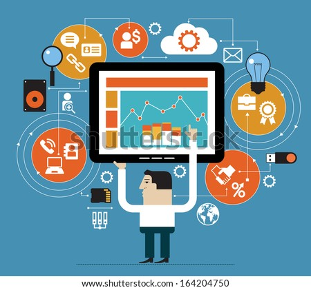 Business people in the online space. Marketing network concept. Abstract illustration of man, tablet and interface icons. Business technology - stock vector