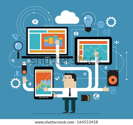 Business people in the online space. Network concept. Abstract illustration of man, computer, tablet, phone and interface icons. Business technology - stock vector