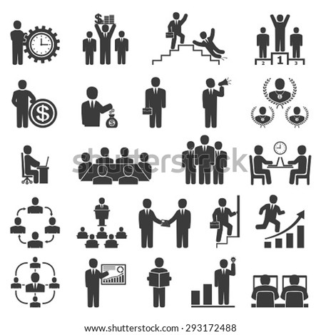 Business people in work. Office icons, conference, computer work,  team working, motivation to success - stock vector