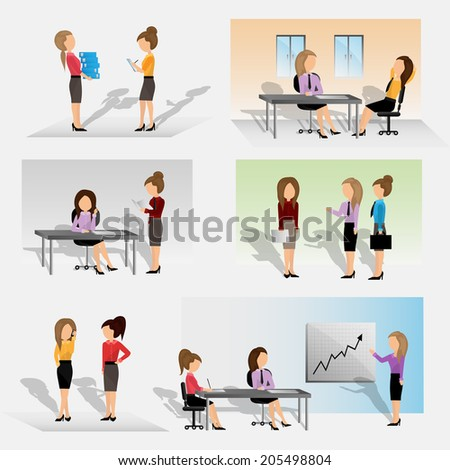 Business People - Isolated On Gray Background - Vector Illustration, Graphic Design Editable For Your Design. Team Working In Office - stock vector