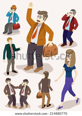 business people isometric set. detailed vector illustration - stock vector