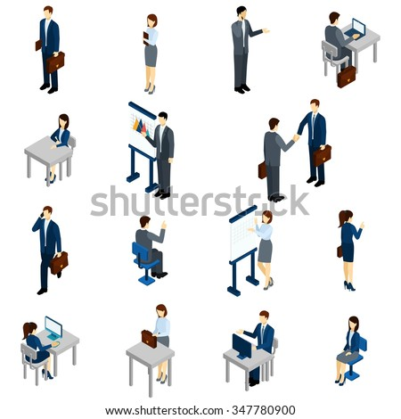 Business people isometric set with males and females in office suits isolated vector illustration - stock vector