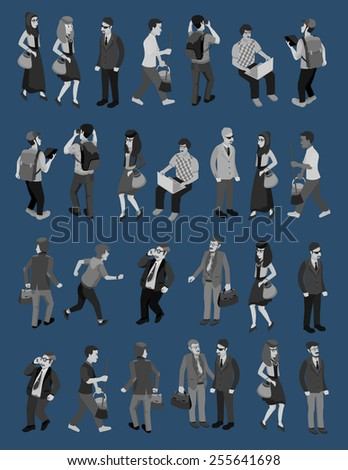 business people isometric vector with several occupation - stock vector