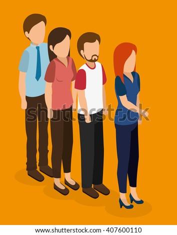 business people isometrics  design  - stock vector