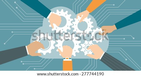 Business people joining gears in a cloud, web and cloud computing concept - stock vector