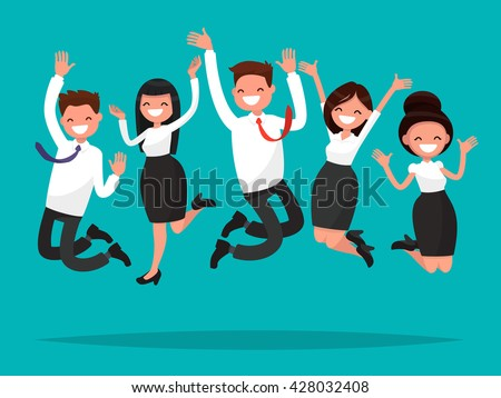 Business people jumping celebrating victory. Vector illustration of a flat design - stock vector