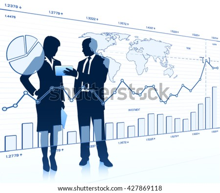 Business people looking at a touchscreen - stock vector