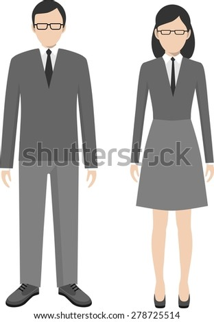 Business people. Man and woman in a flat style - stock vector