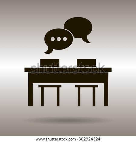 Business people meeting at the table - set of vector web icons - stock vector