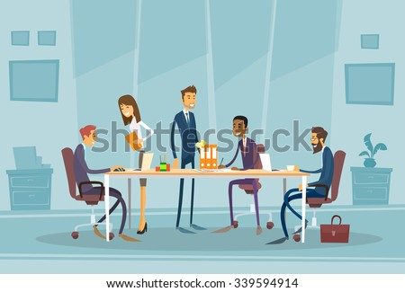 Business People Meeting Discussing Office Desk Businesspeople Working Flat Vector Illustration - stock vector