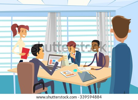 Business People Meeting Discussing Office Desk Businesspeople Working Vector Illustration - stock vector