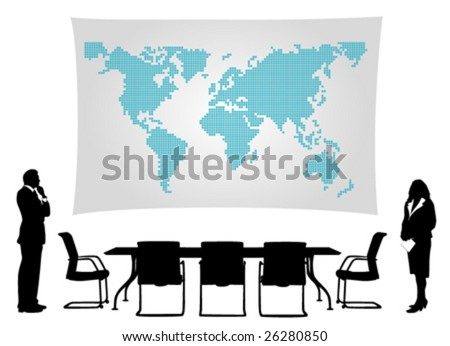 business people meeting in front of world map - stock vector