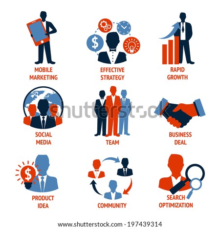 Business people meeting managements icons set of mobile marketing effective strategy rapid growth isolated vector illustration - stock vector