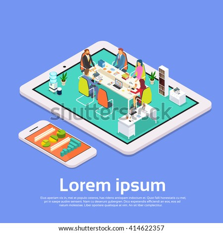 Business People Meeting Office Desk Businesspeople Working Online Conference Tablet Computer 3d Isometric Vector Illustration