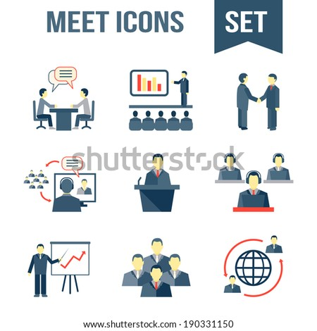 Business people meeting partners online and offline conference and presentation icons set isolated vector illustration - stock vector
