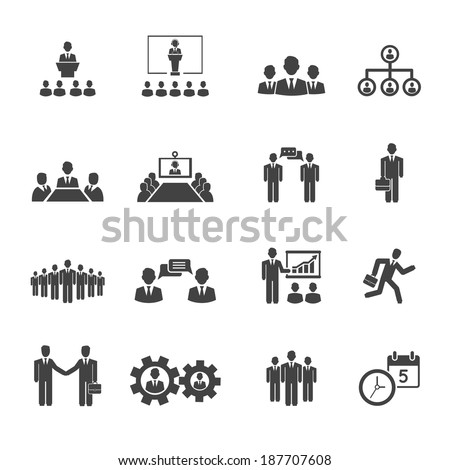 Business people meetings and conferences vector icons showing  training  presentations  conference table  leadership  teamwork  groups  discussion  brainstorming  handshake  deadline and schedule - stock vector