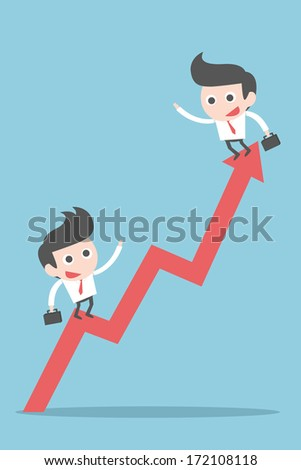 business people on graph, vector - stock vector