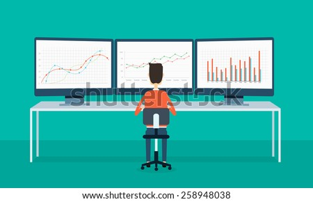 business people on monitor report graph and SEO on web - stock vector