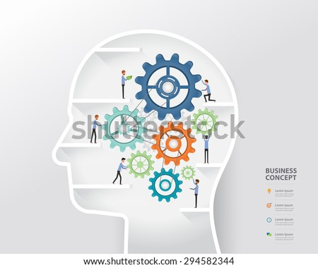 business people on process and business creative in human head concept.  - stock vector