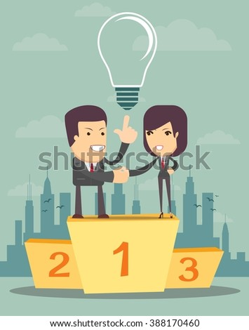 Business people on the podium in the first place come to cooperate, vector illustration - stock vector