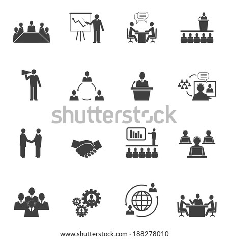 Business people online meeting strategic pictograms set of presentation online conference and teamwork isolated vector illustration - stock vector
