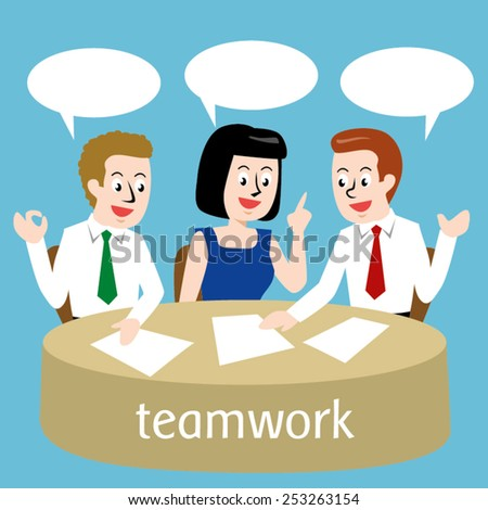 Business people organize work plans; Vector Illustration - stock vector