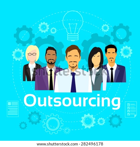 Business People Outsourcing Team Diverse Group Flat Vector Illustration - stock vector