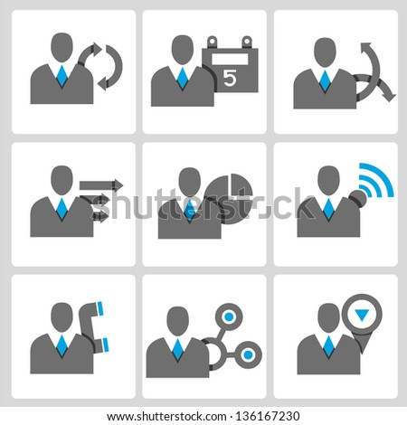 business people, profile, business management vector icon set - stock vector