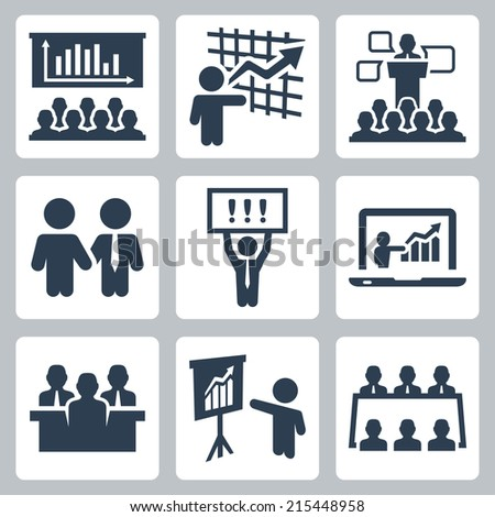 Business people related vector icons set - stock vector
